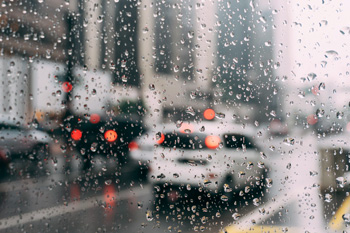 road and traffic in rain