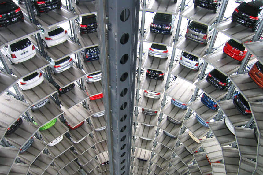 cars in parking building