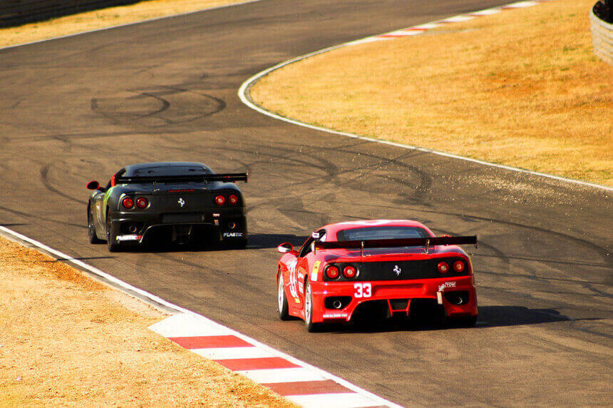 race track with Ferraris