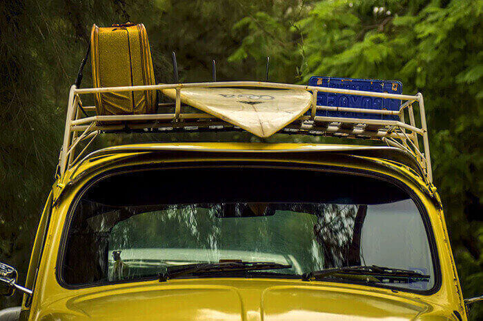 car with roof racks loaded