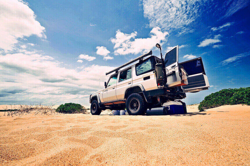 4WD on sand ground view